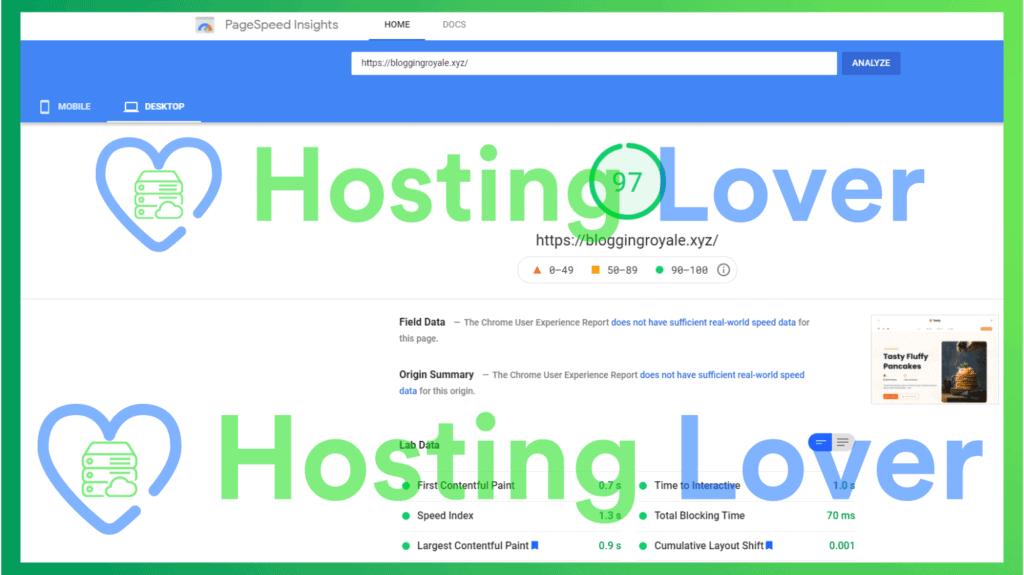 Hostinger Shared Hosting Speed Test Hosting Lover Google Pagespeed Insights Desktop Test 1
