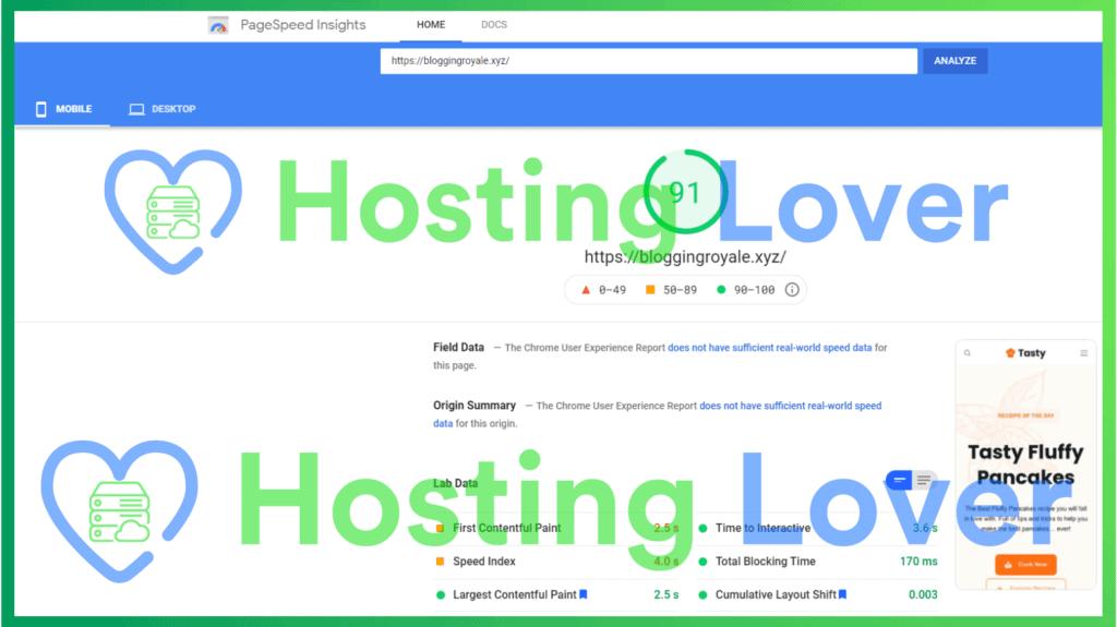 Hostinger Shared Hosting Speed Test Hosting Lover Google Pagespeed Insights Mobile Test 2