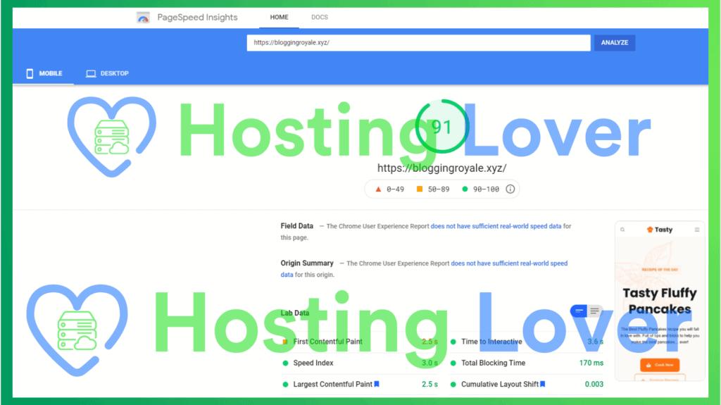 Hostinger Shared Hosting Speed Test Hosting Lover Google Pagespeed Insights Mobile Test 3